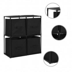 Sonata Органайзер с 4 текстилни кошници черен 63x30x71 cм стомана - Перални