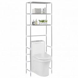 Sonata Стелаж за съхранение над тоалетна 3 рафта сребрист 53x28x169 см - Продукти за баня и WC