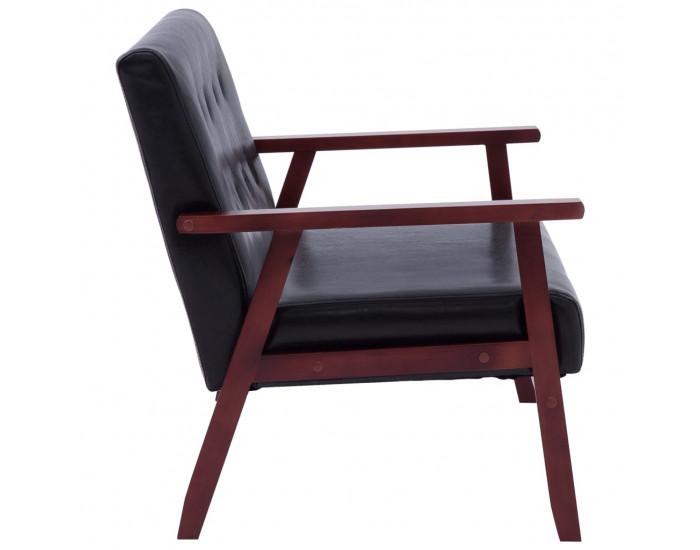 Sonata 2-местен диван, черен, изкуствена кожа