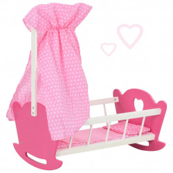 Sonata Люлка за кукла с балдахин МДФ 50x34x60 см розова - Детски играчки