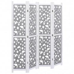 Sonata Параван за стая, 4 панела, сив, 140x165 cм, масивна дървесина - Аксесоари за Всекидневна