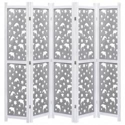 Sonata Параван за стая, 5 панела, сив, 175x165 cм, масивна дървесина - Аксесоари за Всекидневна