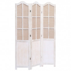 Sonata Параван за стая, 3 панела, бял, 105x165 cм, текстил - Аксесоари за Всекидневна