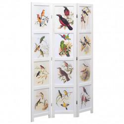 Sonata Параван за стая, 3 панела, бял, 105x165 cм, принт птици - Аксесоари за Всекидневна
