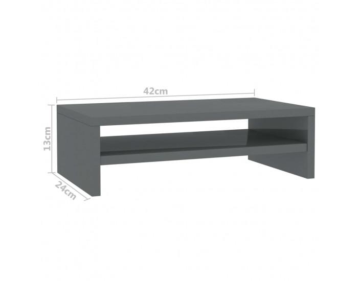 Sonata Стойка за монитор, сив гланц, 42x24x13 см, ПДЧ