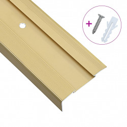 Sonata Г-образни ръбове за стъпала, 15 бр, алуминий, 100 см, златисти - Панели и Детайли