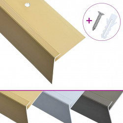 Sonata F-образни ръбове за стъпала, 15 бр, алуминий, 90 см, златисти - Панели и Детайли