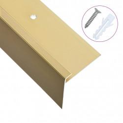 Sonata F-образни ръбове за стъпала, 15 бр, алуминий, 100 см, златисти - Панели и Детайли