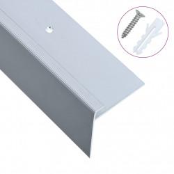 Sonata F-образни ръбове за стъпала, 15 бр, алуминий, 100 см, сребристи - Панели и Детайли