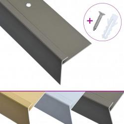 Sonata F-образни ръбове за стъпала, 15 бр, алуминий, 90 см, кафяви - Панели и Детайли