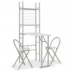 Sonata Сгъваем трапезен комплект с рафт, 3 части, МДФ и стомана, бял - Комплекти маси и столове