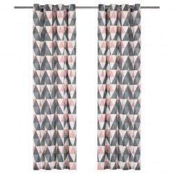 Sonata Завеси с метални халки, 2 бр, памук, 140x175 см, сиво и розово - Завеси, Пердета и Кoрнизи