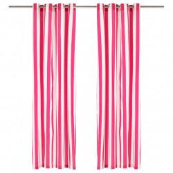 Sonata Завеси с метални халки, 2 бр, плат, 140x225 см, розово райе - Завеси, Пердета и Кoрнизи