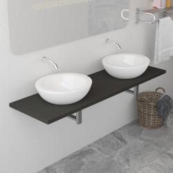 Sonata Обзавеждане за баня, сиво, 160x40x16,3 см - Шкафове за Баня