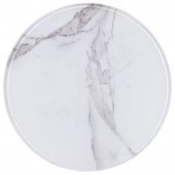 Sonata Плот за маса, бял, Ø30 см, стъкло с мраморна текстура - Маси