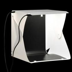 Sonata Сгъваема палатка за продуктова фотография LED 23x25x25 см бяла - Обзавеждане на Бизнес обекти