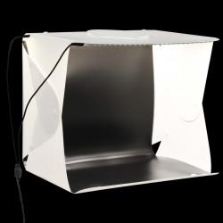 Sonata Сгъваема палатка за продуктова фотография LED 40x34x37 см бяла - Обзавеждане на Бизнес обекти