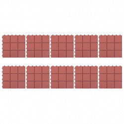 Sonata Декинг плочки, 10 бр, червени, 30,5x30,5 см, пластмаса - Подови настилки