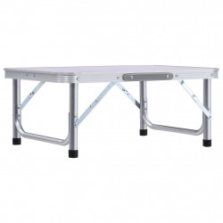 Sonata Сгъваема къмпинг маса, бяла, алуминий, 60x45 см - Градински маси