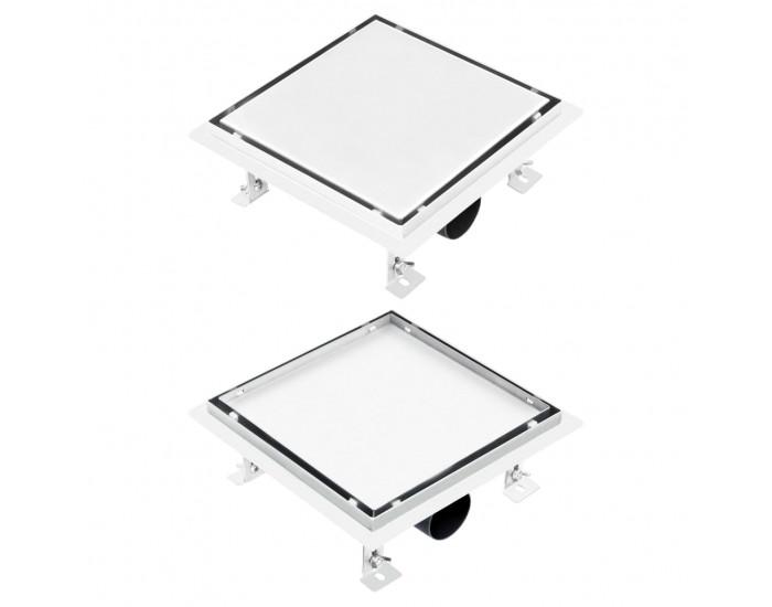 Sonata Подов сифон за душ 2-в-1 с решетка за вграждане 20x20 см инокс