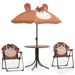 Sonata Детски градински бистро комплект от 3 части, с чадър, кафяв - Градински комплекти