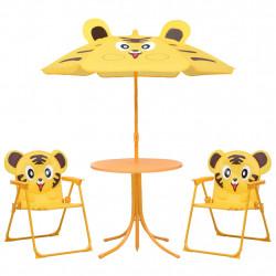 Sonata Детски градински бистро комплект от 3 части, с чадър, жълт - Градински комплекти