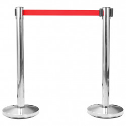 Sonata Ограждение с лента/бариера за летище, инокс, сребристо - Обзавеждане на Бизнес обекти
