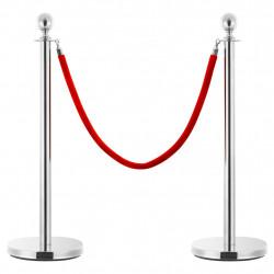 Sonata Въже за бариера, червено и сребристо, кадифе - Обзавеждане на Бизнес обекти