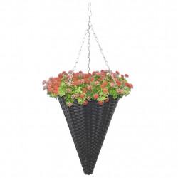 Sonata Висящи кошници за цветя, 2 бр, полиратан, черни - Саксии, Кашпи