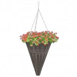 Sonata Висящи кошници за цветя, 2 бр, полиратан, сиви - Саксии, Кашпи