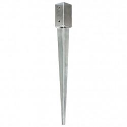 Sonata Заземителни колове 2 бр сребристи 7x7x75 см поцинкована стомана - Огради