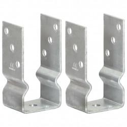 Sonata Оградни подпори 2 бр сребристи 7x6x15 см поцинкована стомана - Огради
