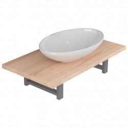 Sonata Комплект мебели за баня от две части, керамика, дъб - Комплекти Мебели