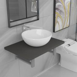 Sonata Комплект мебели за баня от две части, керамика, сив - Комлекти Мебели
