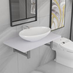 Sonata Комплект мебели за баня от две части, керамика, бял - Комплекти Мебели