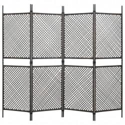 Sonata Параван за стая, 4 панела, полиратан, кафяв, 240x200 см - Аксесоари за Всекидневна