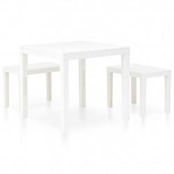 Sonata Градинска маса с 2 пейки, пластмаса, бяла - Градински комплекти