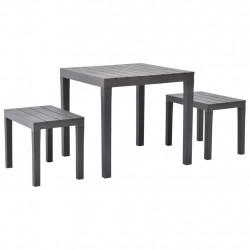 Sonata Градинска маса с 2 пейки, пластмаса, кафява - Градински комплекти