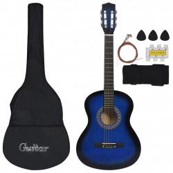 """Sonata Комплект класическа китара деца начинаещи 8 части син 3/4 36"""" - Музикални Инструменти"""