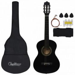 """Sonata Комплект класическа китара за начинаещи 8 части черен 1/2 34"""" - Музикални Инструменти"""