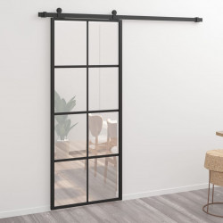 Sonata Плъзгаща врата, алуминий и ESG стъкло, 76х205 см, черна - Механизми