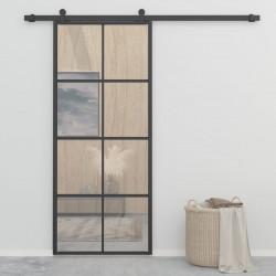 Sonata Плъзгаща врата, алуминий и ESG стъкло, 90x205 см, черна - Механизми
