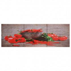 Sonata Комплект принт върху канава за стена, чушки, пъстър, 120x40 см - Картини, Плакати, Пъзели
