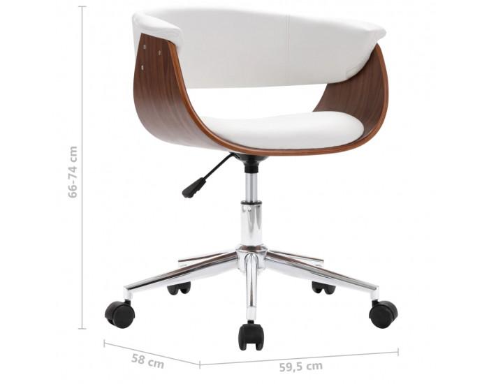 Sonata Въртящ офис стол, бял, извито дърво и изкуствена кожа