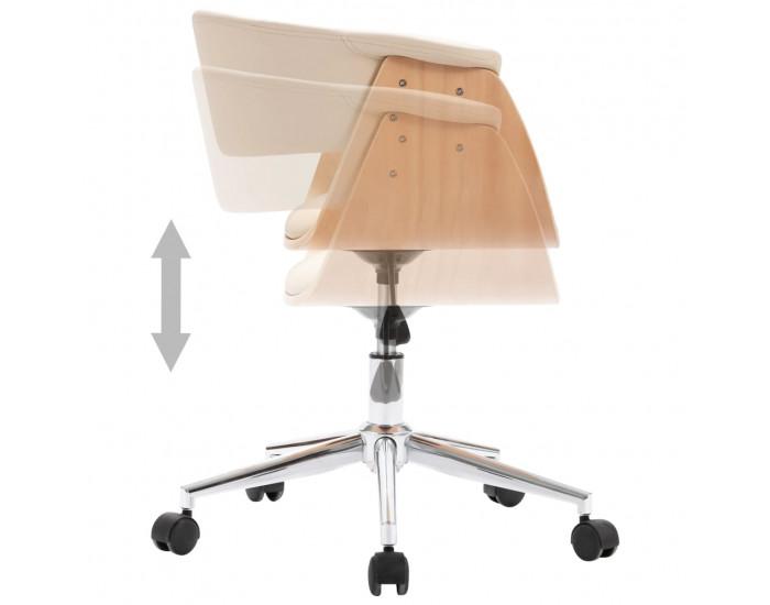 Sonata Въртящ офис стол, кремав, извито дърво и изкуствена кожа