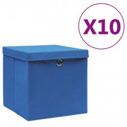 Sonata Кутии за съхранение с капаци 10 бр 28x28x28 см сини - Продукти за съхранение