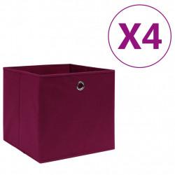 Sonata Кутии за съхранение 4 бр текстил 28x28x28 см тъмночервени - Продукти за съхранение