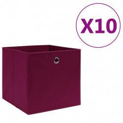 Sonata Кутии за съхранение 10 бр текстил 28x28x28 см тъмночервени - Продукти за съхранение