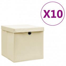 Sonata Кутии за съхранение с капаци 10 бр 28x28x28 см кремави - Продукти за съхранение