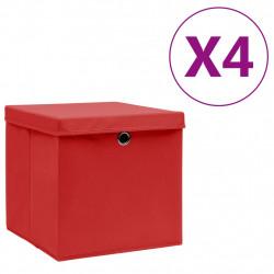 Sonata Кутии за съхранение с капаци 4 бр 28x28x28 см червени - Продукти за съхранение